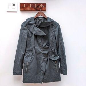 Elie Tahari Ruffle Rain Coat